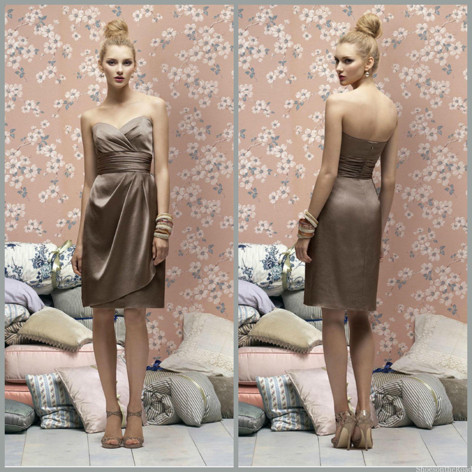 Empire Satin Sheath Sleeveless Knee-length Bridesmaid Dresses_shoesontheroad