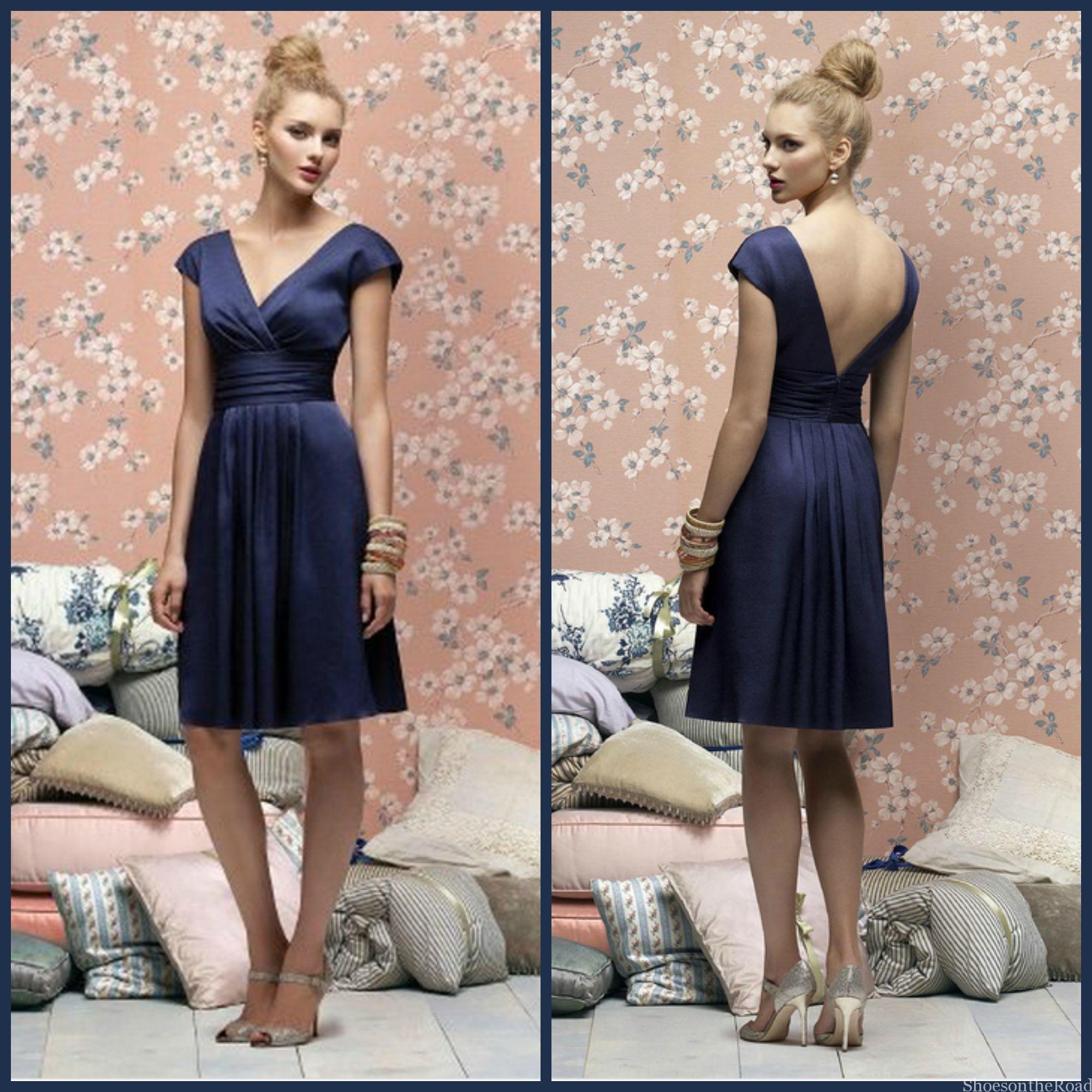 V-neck Empire Knee-length Satin Zipper Bridesmaid Dresses_shoesontheroad